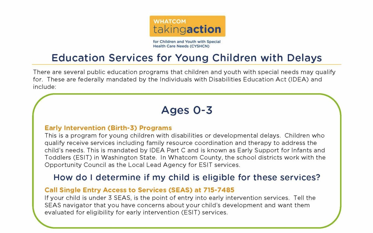 School Services for Children Under Five | Whatcom Taking Action