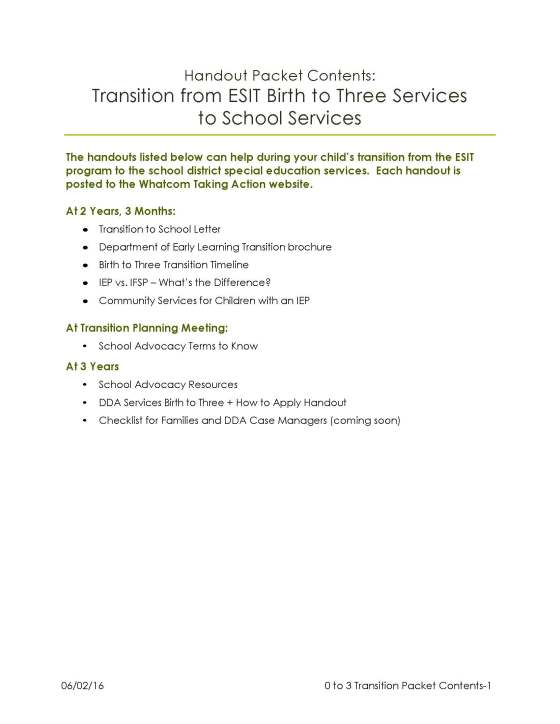 0 to 3 Transition to School Handout Packet Contents website post 2016-06-02