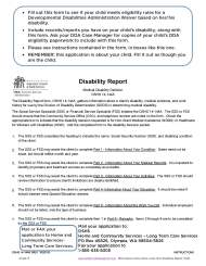 DDA Waiver Disability Report Instructions