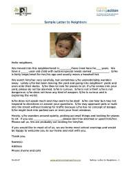 Sample Letter to Neighbors to help keep your child safe